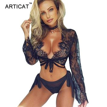 Articat Sexy Black Sheer Lace Crop Top Women Shirts Deep V Neck Long Sleeve Embroidery Lace Tops Female Tshirt Bandage Blusas