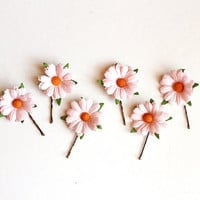 daisy hair pin set of two / woodland, vintage, bridal up-do headpiece, hair accessory, garden wedding, bobby pin set