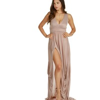 Brown Draped Maxi Dress