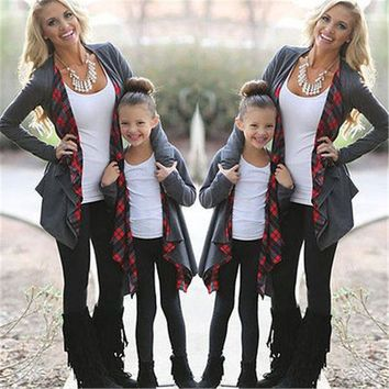 VONEML3 Autumn Long Sleeve Family Outfits Clothing Mother Daughter Cardigan Sweater Outwear Jacket Fasion