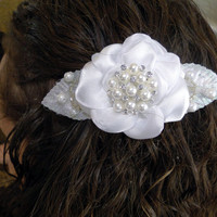 """Bridal French Barrette """"Something Old"""" White Satin Rose with Vintage Leaves and a Rhinestone and Pearl Center OOAK"""