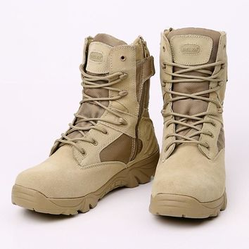 Delta Brand Military Tactical Boots Desert Combat Outdoor Army Hiking shoes Travel Botas Shoes Leather Autumn Male Ankle Boots