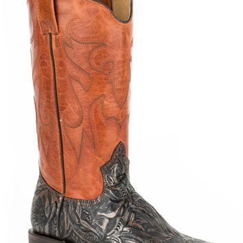 Roper Ladies Faux Exotic On Leather Sq Toe Boots Faux Copper Handtool Brandy Shaft