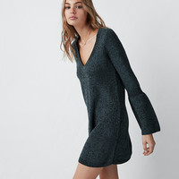 V-Neck Bell Sleeve Sweater Dress