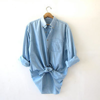 vintage chambray shirt. washed out denim shirt. light wash jean shirt. oversized boyfriend shirt.