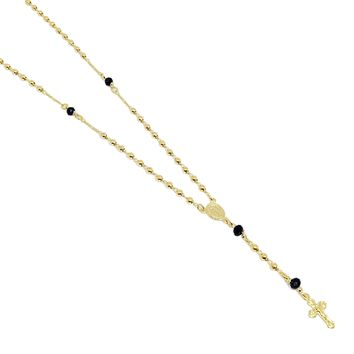 18K GL Rosary Necklace with Black Crystals