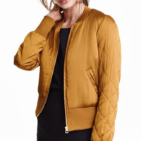 Solid color collarless long - sleeved quilted cotton jacket B0015566