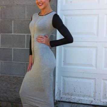 Leather Sleeved Knit Dress- Gray