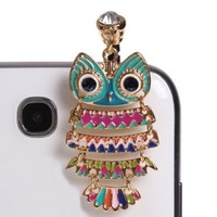 Wisedeal IKASEFU Colorful 3.5mm Night Owl Pattern Cellphone Charms Anti-Dust Dustproof Earphone Audio Headphone Jack Plug Stopper for iPhone 4 4S Samsung Galaxy S2 S3 Note I9220 HTC Sony Nokia Motorola LG Lenovo