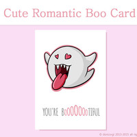 You're Bootiful Cute Romantic Boo Card - Printable Card, Love Card, Greetings Cards, Digital Paper - INSTANT DOWNLOAD