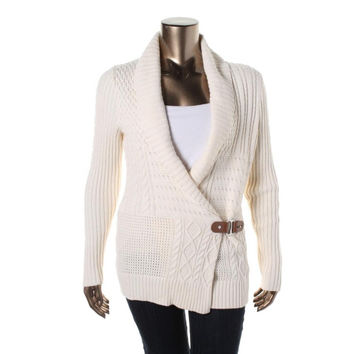 Lauren Ralph Lauren Womens Cable Knit Shawl Collar Cardigan Sweater