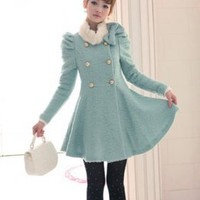 Sweet Puff Sleeve Princess Style Girls Coats Blue : Wholesaleclothing4u.com