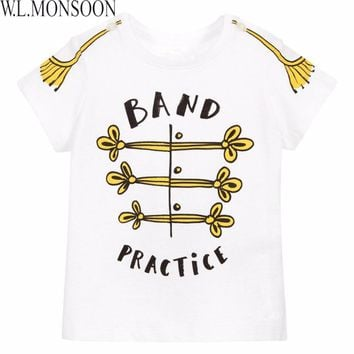 W.L.MONSOON Boys Tee Shirt Girls Tops 2017 Brand Summer Toddler Boys T shirt Kids Clothes Letter Print Children Clothing Tshirt