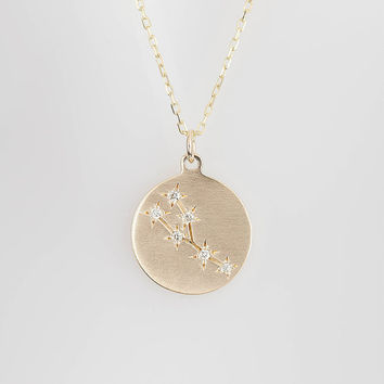 Taurus star constellation disc pendant personalized zodiac astrology necklace, Taurus diamonds & solid 14k yellow rose white gold, sc-n101