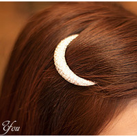 Crystal Moon Rhinestone Hair Accessories Hair Clip Hairpin Barrett Clip
