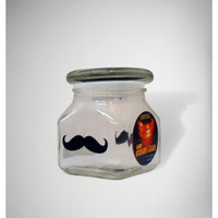 Blue LED Mustache Stash Jar