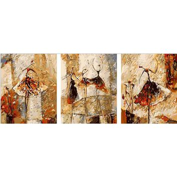 vintage home decor Hand painted canvas Triptych oil paintings  wall pictures for living room Ballet Club painting by numbers v41