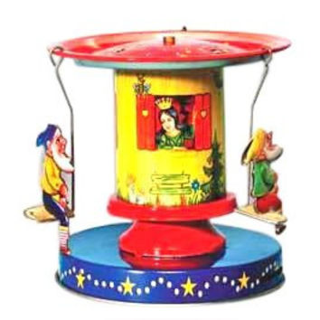 Snow white & the seven dwarfs Tin Carousel collectible vintage toy
