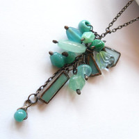 Statement necklace stained glass turquoise pendant glass beaded funky necklace Cluster