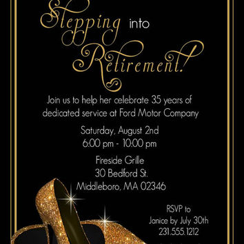 gold shoes retirement invitation printable retirement party invitations surprise invites