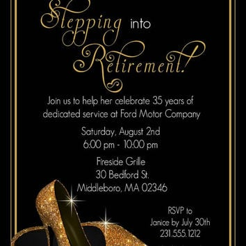 Gold Shoes Retirement Invitation - Printable Retirement Party Invitations - Surprise Invites