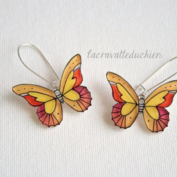 Dangle Butterflies Earrings, Butterfly jewelry, Yellow butterflies