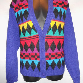Vintage 80s Geometric Cardigan Sweater Bright Bold Rainbow Colorful I Magnolia Brand Diamonds