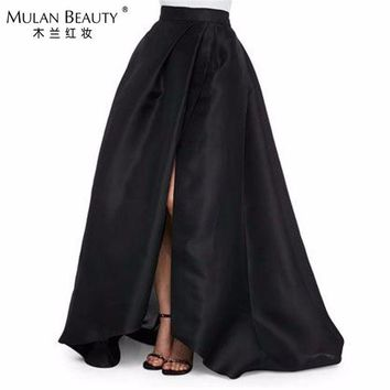 DCCKU62 2017 New Black Satin High Split Skirts For Women To Formal Party Fashion Floor Length Skirt Invisible Zipper Custom Made