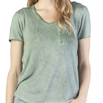 Dear John Paityn Dirty Wash V-Neck Sweet Pea Tee