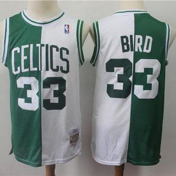 PEAP Boston Celtics 33 Larry Bird Doubel Color Spell Swingman Jersey
