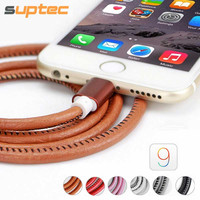 2016 Super Strong 1M Leather Metal Plug Micro USB Cable for Samsung Galaxy S6 Lightning Cable for iPhone 6 6S Plus 5S iPad mini