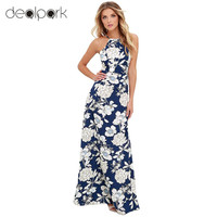 Maxi Dress Vintage Floral Print Summer Long Dress Off Shoulder Sexy Women Causal Dress Plus Size Beach Party Dresses Vestidos