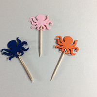 Octopus cupcake toppers, Orange, Pink and Navy Octopus party picks, Party decor, Ocean creature, happy birthday, Baby shower, 12 per order.