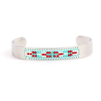 Diamond Shaman's Eye Turquoise and Red Seed Tribal Bead Bangle