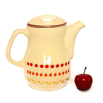SALE Vintage Porcelain Teapot by Ceramica Schmidt. Counttry Kitchen. Cream Red Yellow Retro Kitchen. Apple orange banana print. Mod Kitchen.