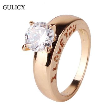 GULICX I LOVE YOU Fashion Unique Ring 18K Gold Plated Ring with box Round Crystal Zironia Love Engagement Ring For Women R127