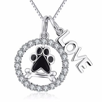 New Arrival 925 Sterling Silver Dog Paw Print Bone Round Pendant Necklace With Letter LOVE Crystal Fashion Jewelry For Women