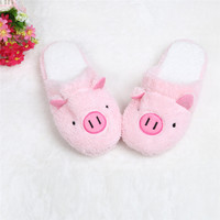 Durable Fashion Home Anti-slip Slippers Shoes in Autumn Winters Lovely Pig Home Floor Soft Stripe Slippers Female Shoes