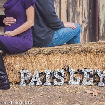 Personalized Wood Letters - Paisley Black and White Graphic Letters