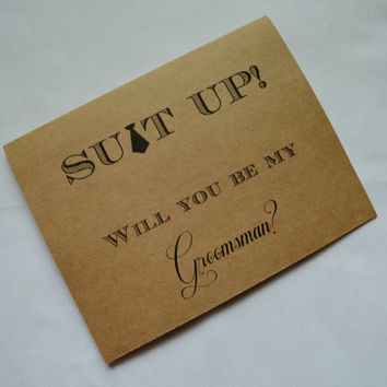 Will you be my Groomsman Card Funny Groomsmen Card Card Suit Up wedding party Bridesmaid Best Man Invitation card suit up fun groomsman card