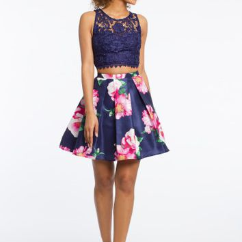 Two Piece Lace with Floral Skirt Dress