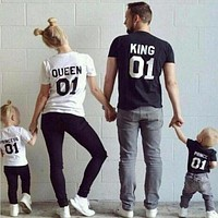 2017 summer Family Matching Outfits Short-sleeved Cotton matching family clothes T-shirt Family Look Family matching clothes