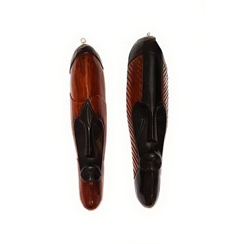 "12"" - 13"" African Gabon Cameroon Wood Fang Mask: Brown and Black"