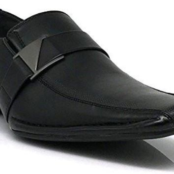 Stone Men's Dress Loafers Elastic Slip on with Buckle Fashion Shoes Runs Half Size Big (10.5, Black)