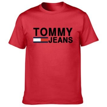 Tommy New Summer Fashion Bust Letter Stripe Print Sports Leisure Women Men Top T-Shirt Red
