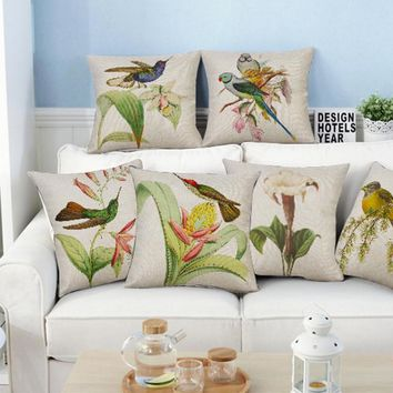 2017 European Style Hand Painted Flowers And Birds Pillow Sofa Office Chair Animal Cushion For Home Accessories 45cm