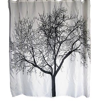 Black White Tree Silhouette Shower Curtain in Polyester Fabric