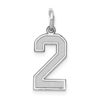 14K White Gold Small Satin Number 2 Charm
