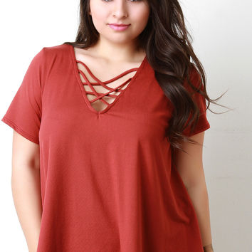 Loose Fitting Strappy V Neck Tee Shirt