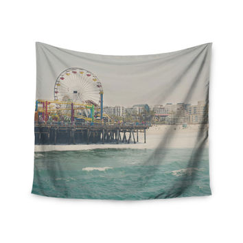 "Laura Evans ""The Pier at Santa Monica"" Coastal Teal Wall Tapestry"